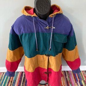 90s Colorblock Striped Jacket Winter Coat Large